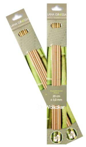Bamboe breinaalden zonder knop, kort, 20 cm. Diverse maten-0