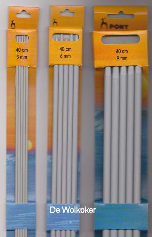 Breinaalden zonder knop, 40 cm, maat 2 t/m 10-0