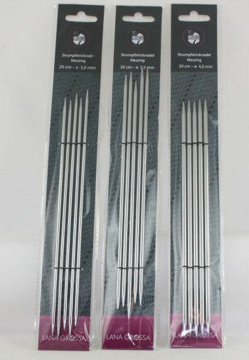 Breinaalden zonder knop METAAL kort, 20 cm, maat 3 t/m 4-0