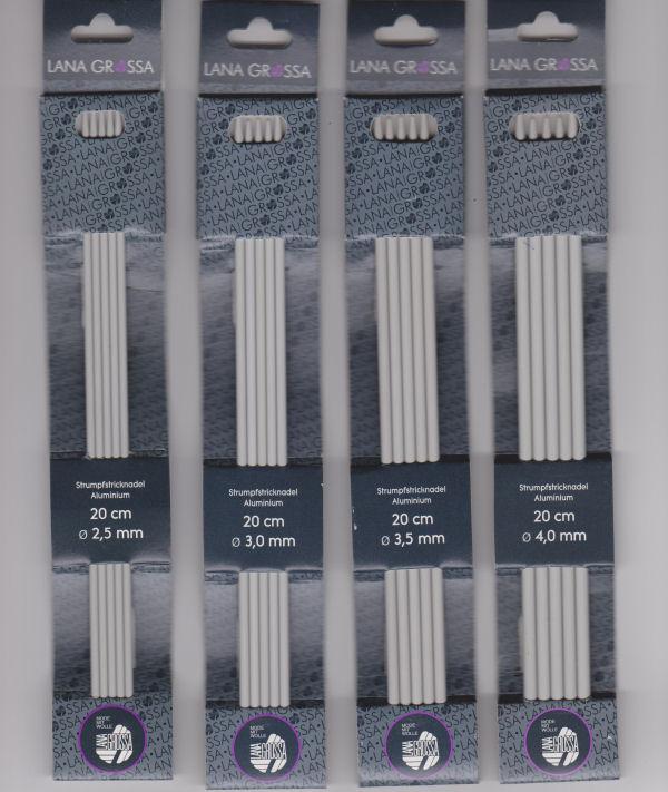 Breinaalden zonder knop ALUMINIUM kort, 20 cm, maat 3 t/m 4-0