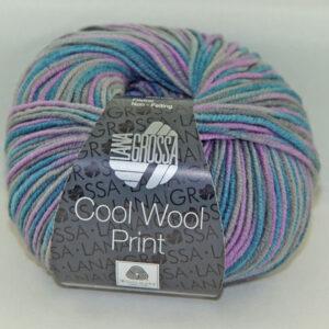 Merino Cool Wool print 816 lila grijs petrol