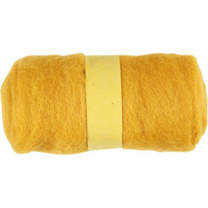 Gekaarde wol 100 gram geel 451770