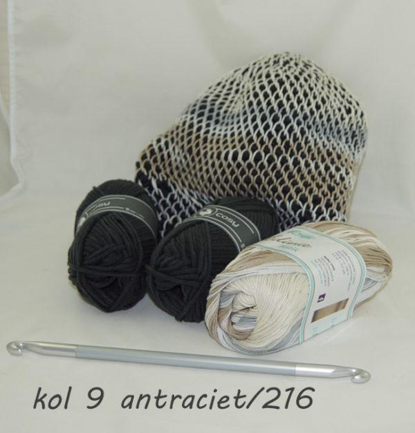Haakpakket voor Baret, gehaakt met dubbelzijdige Tunische Haaknaald-15487