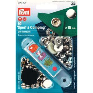 Naaivrije drukknopen 15 mm Sport zilver Prym 390 201