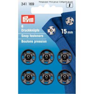 Drukkers 15 mm zwart Prym 341 169