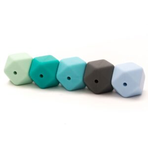 020.1028 kralen hexagon blauw:groen